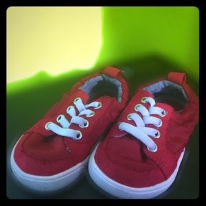 Red sneakers size 5 white lace boys children